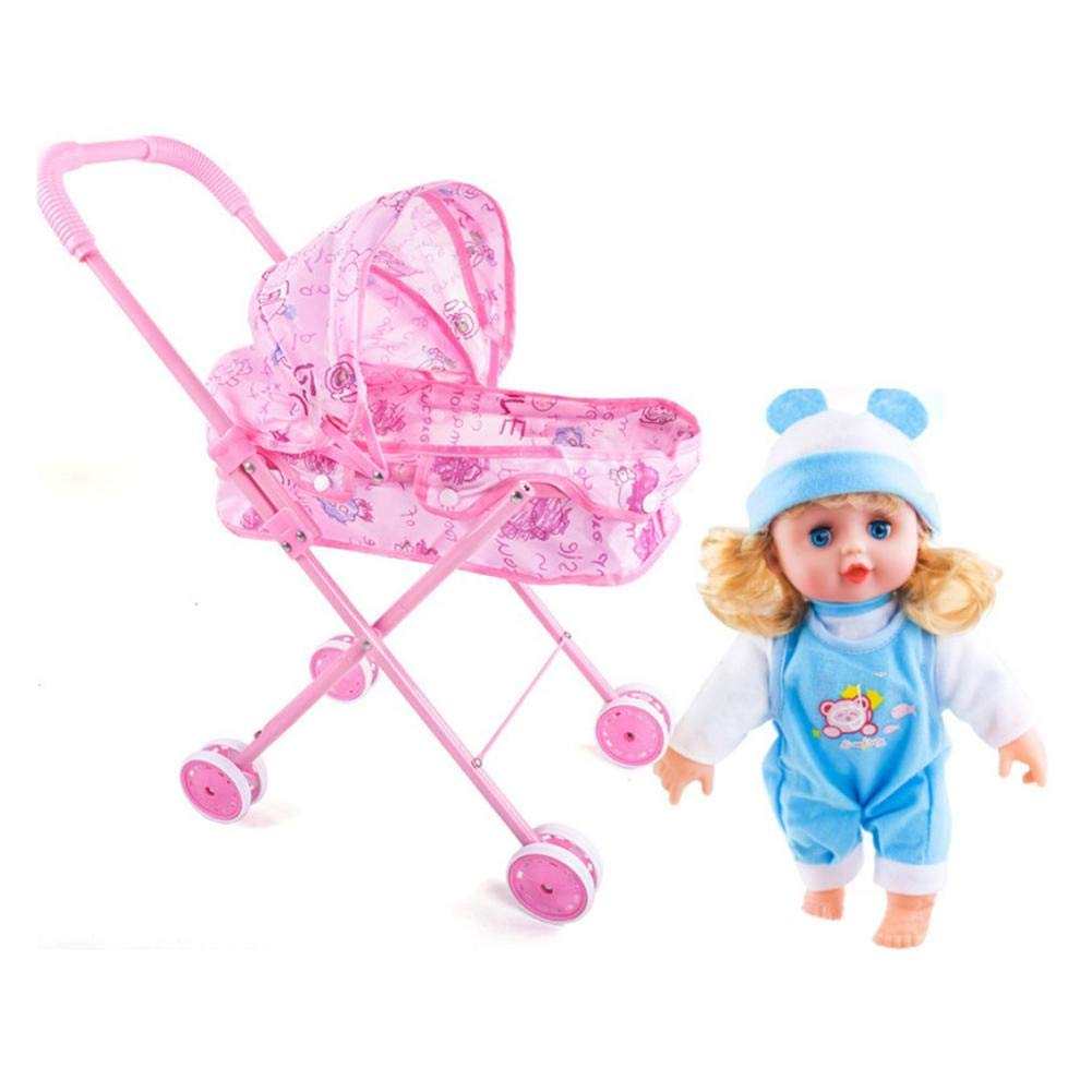 Amazon.com: Futureshine Foldable Doll Stroller with Hood, My First Doll Stroller with Basket and Canopy. Doll Pram, Lightweight Pink Baby Stroller fo Kids, ...