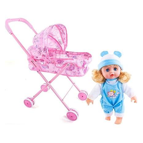 QueenHome Carrito de muñecas de Juguete Carrito de Juguete Cochecito de simulación de Juguetes de niña
