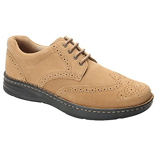 Drew Shoe Men's Delaware Fashion Oxfords, Tan, Suede, Foam, 10 6E