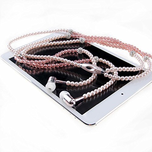 Fashionable Jewelry pearl Necklace Stereo Earphones with Microphone Beads 3.5mm In-ear Headphone Connect to Ipod, Iphone, Droid, Blackberry, Mp3 Player and All 3.5mm Audio Devices - Pink