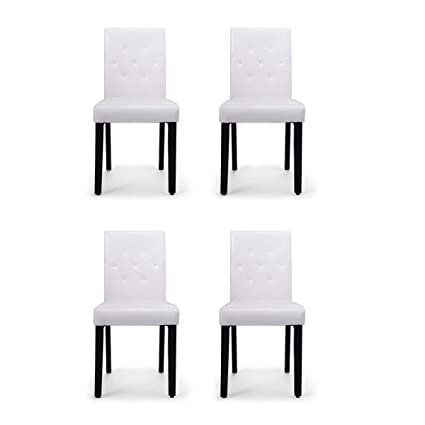 Wondrous Set Of 4 Dining Chair Elegant Leisure Armless Chair Kitchen Dinette Room White Pu Leather Chairs Creativecarmelina Interior Chair Design Creativecarmelinacom