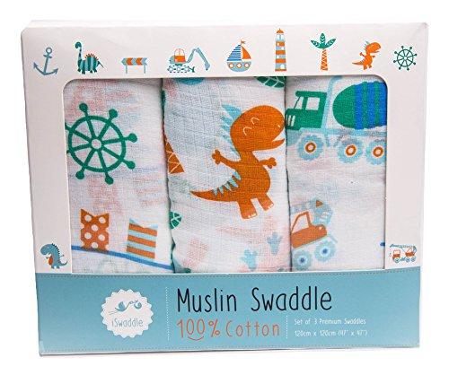 Lote de 3 mantas de muselina para bebés, extragrandes, de 120 x 120 cm, 100% algodón, con diseños divertidos unisex, ideal como regalo para conmemorar un nacimiento iSwaddle