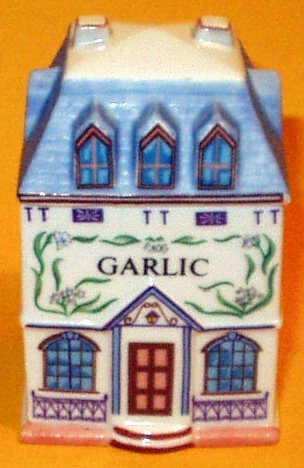 Garlic 'Lenox Spice Village' Porcelain Victorian House Spice Jar