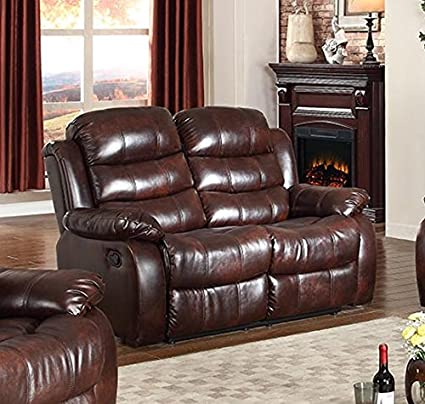 Wondrous Gtu Furniture Traditional Brown Pu Leather Reclining Sofa Loveseat Recliner Loveseat Gmtry Best Dining Table And Chair Ideas Images Gmtryco
