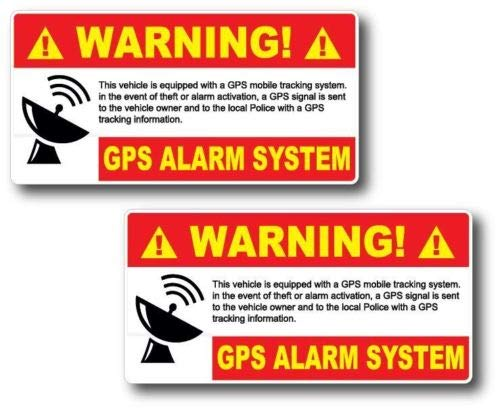 (2 Pack GPS Alarm System Warning Decal Security Sticker Vinyl Car Truck Jeep Home)
