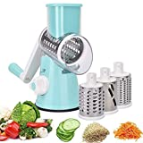Azornic Vegetable Mandoline Slicer, Vegetable Fruit Cutter Cheese Shredder Rotary Drum Grater with 3 Stainless Steel Rotary Blades and Suction Cup Feet (Blue)