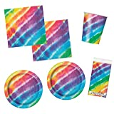 Unique Tie Dye Party Bundle | Luncheon & Beverage Napkins, Dinner & Dessert Plates, Cups, Table Cover | Great for Dessert Birthday Themed Parties