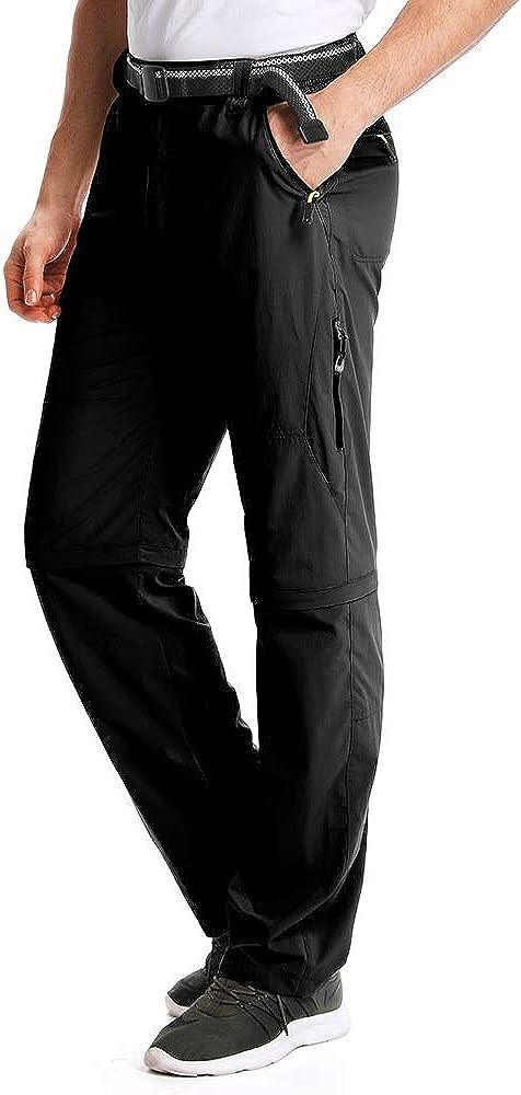 Mens Hiking Pants Safari Quick Dry Convertible Zip Off Scout Lightweight Adventure Trekking Pants Shorts,M1111,Black,29