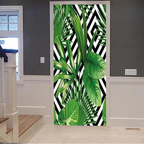 scocici1588 3d Door Wall Mural Wallpaper Stickers-print summer exotic jungle plant tropical pal For  Room Decor 30x79