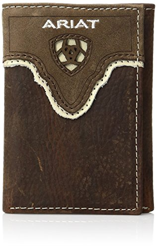 (Ariat Men's Distressed Shield Inlay Trifold Western Wallet, Brown, One Size)