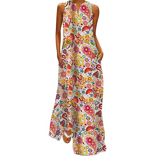 haoricu Women Dress Sleeveless Graceful Party Long Dress Women V Neck Printed Hawaiian Style Maxi Dress White