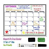 "Immuson Magnetic Refrigerator Message Calendar 17"" x 11"" Monthly Weekly Refrigerator White Board Dry Erase Board for Kitchen Fridge With Strong Magnet, Includes 2 Magnetic Erasers + 2 Markers"
