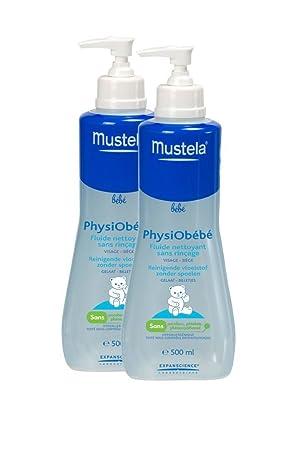 Mustela Physiobébé - Fluido limpiador sin aclarado - Juego de 2 x 500 ml: Amazon.es: Belleza