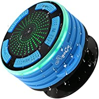 AYOGU Shower Radios, IP67 Portable Wireless Bluetooth Waterproof Dustproof Speaker with Hook LED Mood Light, Super Bass and HD Sound Shower Radio, for Shower, Pool, Beach, Kitchen and Outdoor