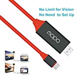 4K USB C to HDMI Cable, no need to set up usb-c to hdmi 4k adapter, USB 3.1 Type C to HDTV Cable For 2017/2016 MacBook Pro,iMac,Surface Book 2,Samsung Galaxy S8/S8+/Note 8,Chromebook Pixel,LG G5 (Red)