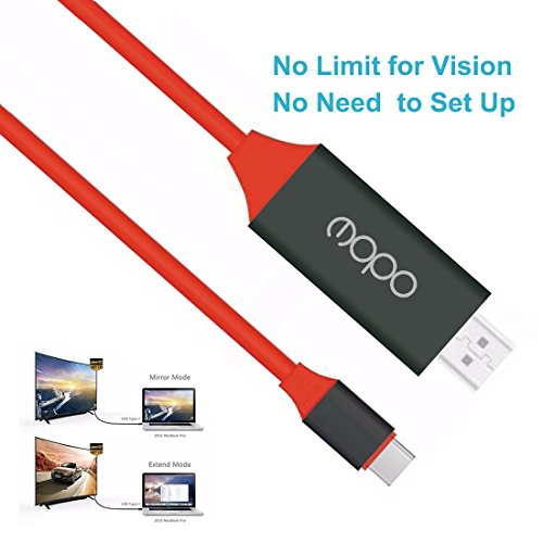 4K USB C to HDMI Cable, no need to set up usb-c to hdmi 4k adapter, USB 3.1 Type C to HDTV Cable For 2017/2016 MacBook Pro,iMac,Surface Book 2,Samsung Galaxy S8/S8+/Note 8,Chromebook Pixel,LG G5 (Red) by E-MOPO