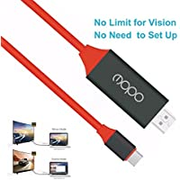 4K USB C to HDMI Cable (6.56ft/2.0m), MOPO no need to set up usb-c to hdmi 4k adapter, USB 3.1 Type C to HDTV Cable For phone, notebook,the New Mac-book, Chrome-book Pixel, Plug and Play and more, Red