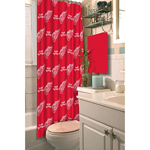 (TN 1 Piece Red White Red Wings Shower Curtain 72x72 Inch, Hockey Themed Bathroom Decoration Team Logo Fan Merchandise Athletic Team Spirit Fan Bath Decor, Decorative Bath Collection Polyester)
