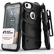 iPhone 7 Case, Zizo [Bolt Series] with [iPhone 7 Screen Protector] Kickstand [Military Grade Drop Tested] Holster Belt Clip iPhone 6s iPhone 6