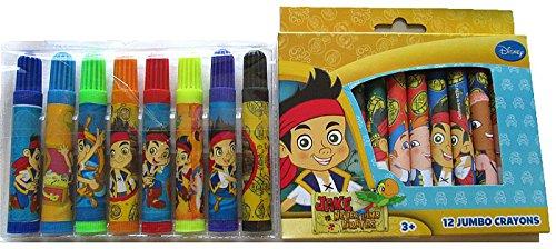 Jake and The Never Land Pirates Jumbo Crayon & Marker Set - Disney Adventures (Pirate Crayons)