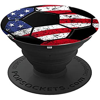 Soccer USA Flag Pop Socket Player Christmas Birthday Gift - PopSockets Grip and Stand for Phones and Tablets