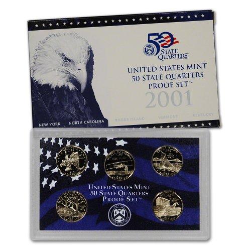 2001 S US Mint Quarters Proof Set OGP (Rhode Island Mint Coin Set)