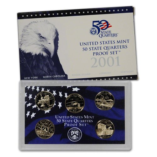 2001 S US Mint Quarters Proof Set Original Government Packaging