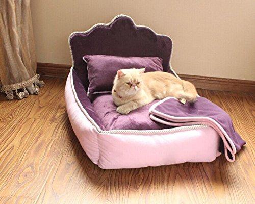 Cama para mascotas Miraise con almohada y edredón (juego de tres piezas), cómoda, suave, completamente lavable, para gatos o perros, de algodón, para perros ...