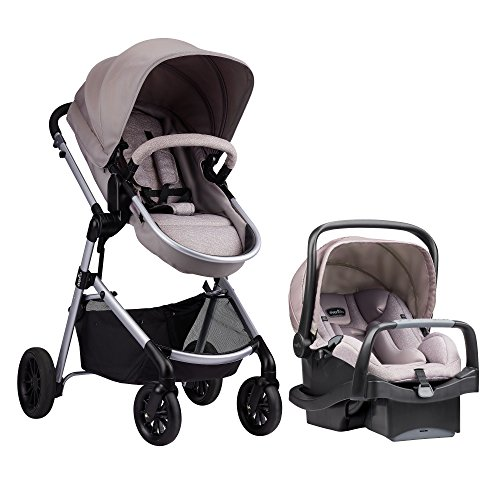 Evenflo Pivot Modular Travel System, Lightweight Baby Stroller, Sleek & Versatile, Easy Infant Car Seat Transfer, Oversized Storage Basket, Blanket Boot, Travel Stroller, 3-Panel Canopy, Sandstone Tan (Best Rated Strollers 2019)