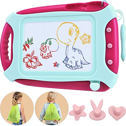Wellchild Magnetic Drawing Board for Toddlers,Travel Size Toddlers Toys A Etch Toddler Sketch Colorful Erasable with One Carry Bag Magnet Pen and Three Stampers XB009