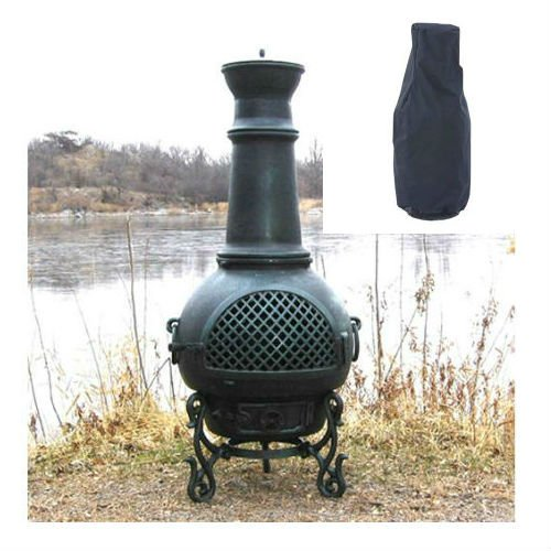 Blue Rooster Gatsby Style Wood Burning Outdoor Metal Chiminea Fireplace Antique Green Color with Large Black Cover