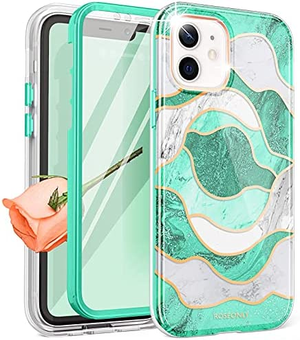 ROSEONLY Designed for iPhone 11 Case,Full Body Rugged with Built-in Screen Protector Soft TPU Bumper Slim Fit Shockproof Cover for iPhone 11 Case 6.1 inch- Green