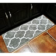 Hihome Non-Slip Kitchen Rugs Rubber Backing Grey Kitchen Runner Mats Entrance Rugs