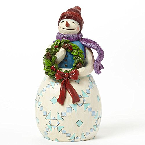 Jim Shore for Enesco Heartwood Creek Snowman with Wreath Figurine, 9-Inch