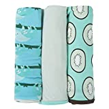 KicKee Pants Swaddling Blanket Gift Set With elephant Box, Confetti Sloth, Sloe With glass & Kiwi