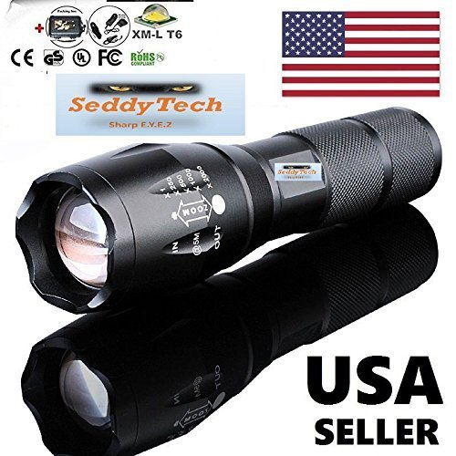 SeddyTech-UltraFire-Bright-Flashlight-LEDOutdoor-streamlight-with-2000-Lumens-and-5-Modes-Includes-Battery-ChargerCar-chargerHolster-and-a-Storage-Box