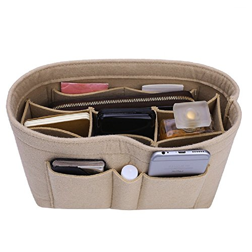 Felt Insert Bag Organizer Bag In Bag For Handbag Purse Organizer, Six Color Three Size Medium Large X-Large (Large, Beige) by ZTUJO