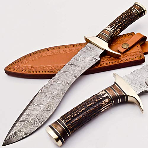 RARE CUSTOM BLOOD GROOVED CUSTOM DAMASCUS FIGHTER KUKRI BOWIE KNIFE | STAG ANTLER HANDLE (KM-7002)