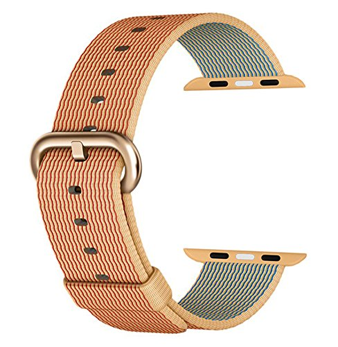 MXY Fine Woven Nylon Replacement Strap Wrist With Gold Metal Buckle Gloden Clasp for 42mm Apple iWatch Series 1 Series 2 (42mm-Glod/Red-Golden Buckle)