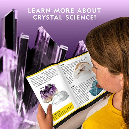 NATIONAL GEOGRAPHIC Mega Crystal Growing Lab – Grow 6 Vibrant Crystals, Crystals Grow Fast in 3-4 Days, Includes Light-Up Display Stand, Full-Color Learning Guide, and four Genuine Crystal Specimens