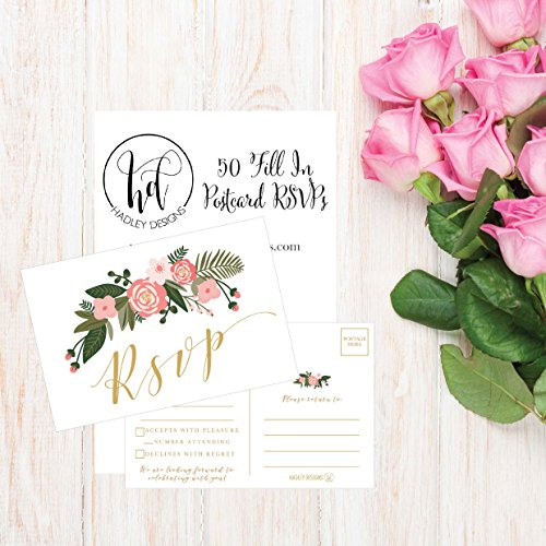 50 Blank Gold Floral RSVP Cards, RSVP Postcards No Envelopes Needed, Response Card, RSVP Reply, RSVP kit for Wedding, Rehearsal, Baby Bridal Shower, Birthday, Plain Bachelorette Party Invitations Photo #3