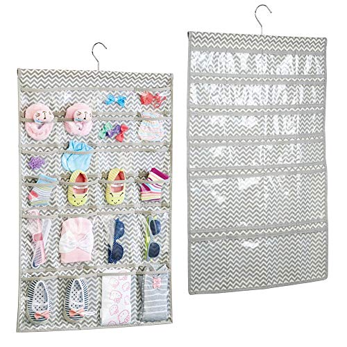 mDesign Soft Fabric Over Rod Hanging Storage Organizer with 48 Pockets for Child/Baby Room, Nursery, Playroom - Metal Hooks Included - Chevron Zig Zag Print - 2 Pack - Taupe/Natural