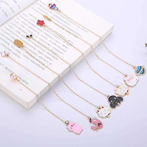 (HsgbvictS Pig Dog Rabbit Shape Metal Pendant Book Marker School Office Supplies Stationery Decoration Planet#)