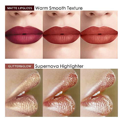 Matte Nude Lipstick Set - KASI Liquid Glitter Lipstick Sets, Waterproof Long Lasting Highly Pigmented Non Sticky Cup Lipgloss, Super Stay Velvet Smooth Formula - 6PC