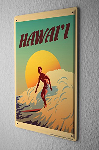 Nostalgic Tin Sign Wall Plate Surfer Surfboard Hawaii sun Metal Wall Plate 8X12