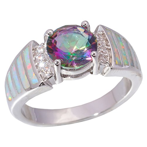 Topaz Zircon Ring (CiNily White Fire Opal Silver Mystic Topaz Zircon Jewelry Gemstone Ring Size 5-12 (8))