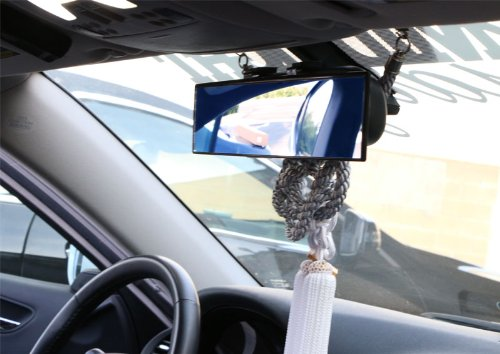 iJDMTOY Universal Fit JDM 300mm 12 Wide Anti-Glare Blue Tint Curve Convex Clip On Rear View Mirror For Car SUV Van Truck etc