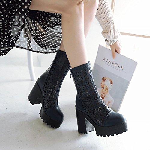 Moda Donna Latasa Scava Fuori Cerniera Posteriore Blocco Tacco Alto Stivali Piattaforma Corta, Stivali Neri