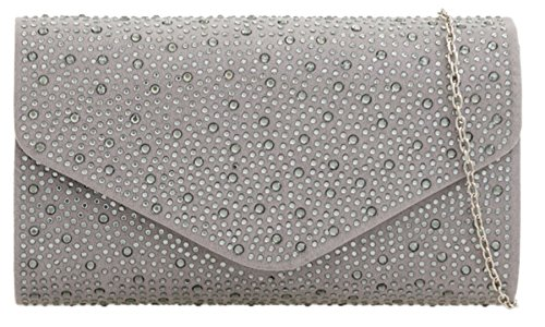 Clutch Girly Elegant Girly HandBags Grey Bag HandBags Rhinestones wUZqX4x