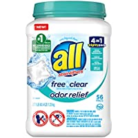 56-Count All Mighty Pacs Laundry Detergent Free Clear Odor Relief